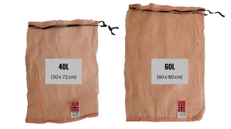 Vedsekker med hurtiglukking og norsk flagg. Samme standardmål som Norsk Ved, Espegard og Tommen Gram sekker. Gjør vedpakkingen enklere med vedsekker fra Vepak!