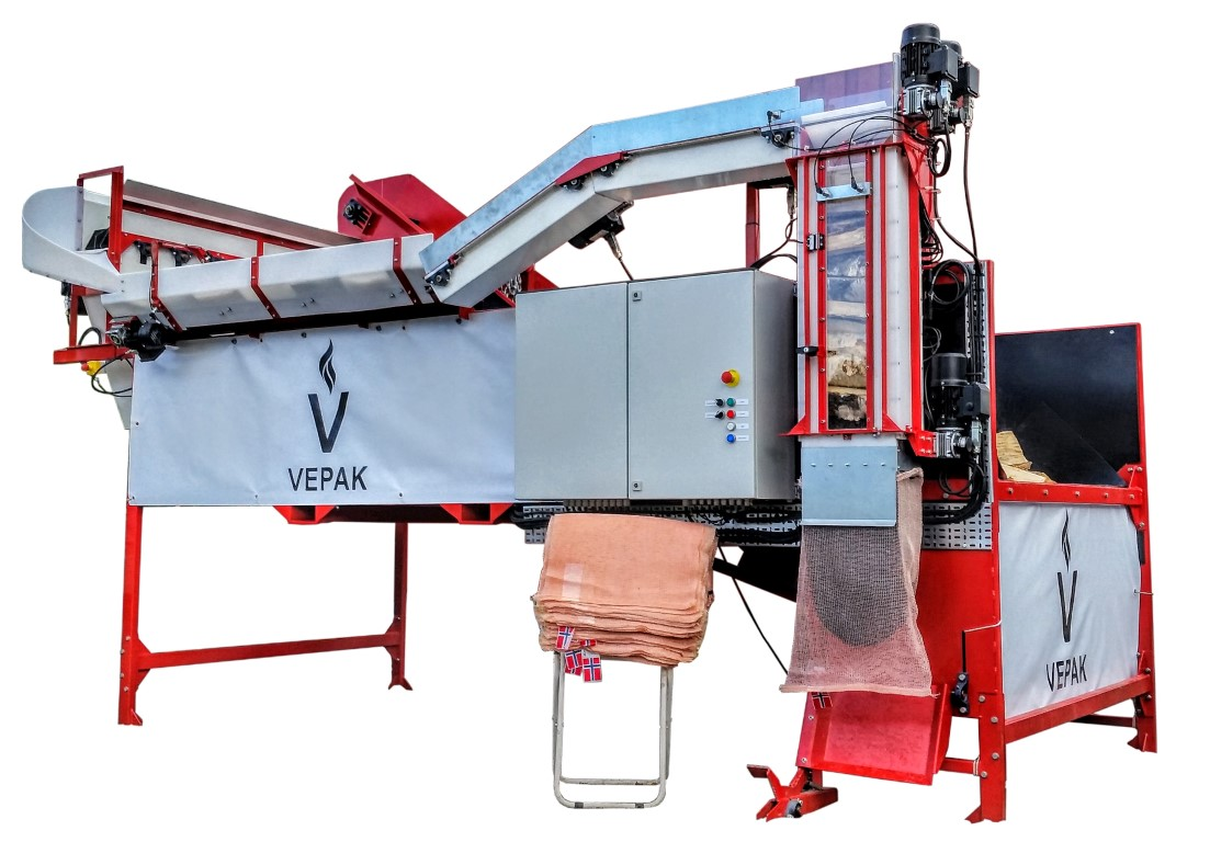 Vedpakking i vedsekker med Vepak V1